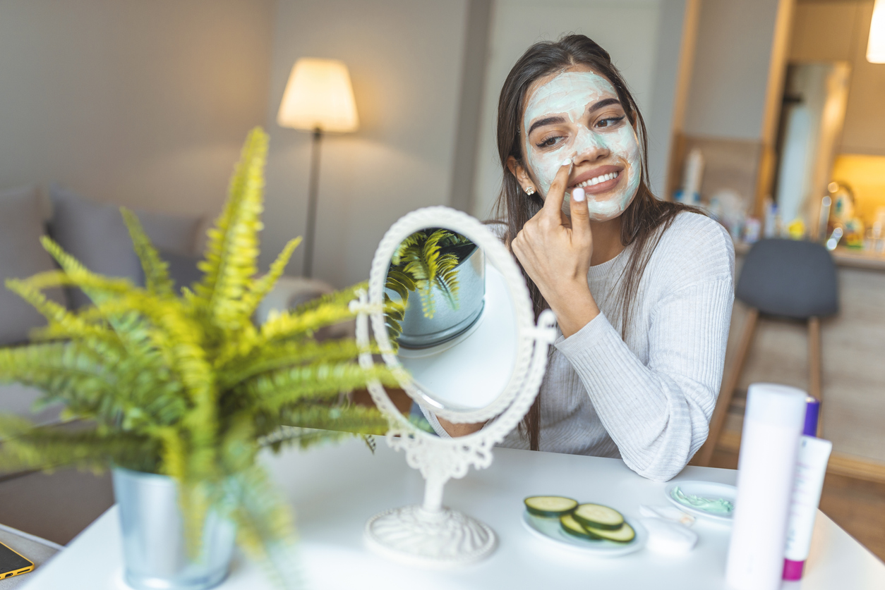 Beautiful woman with spa facial mask. Homemade mask for face. spa treatments. Facial dry skin and body care, complexion treatment at home concept, wondering how to make your skincare routine less wasteful.